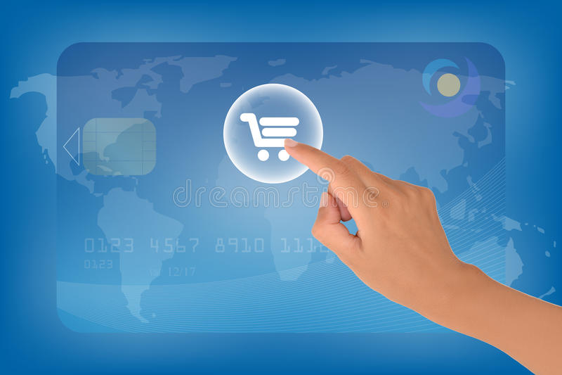 E-commerce. Concept with a female hand clicking on chart button