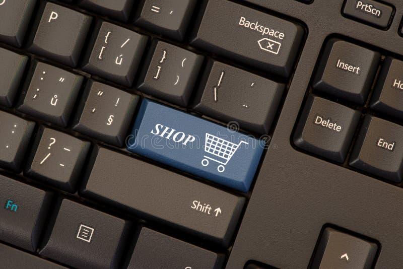 E-commerce key on keyboard royalty free illustration