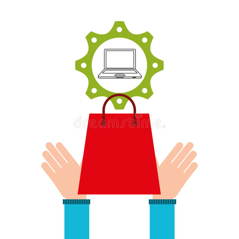 E-commerce business laptop money design icon vector illustration