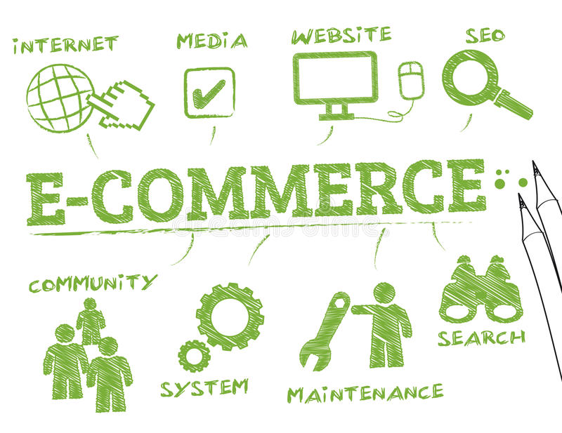 E-commerce. Chart with keywords and icons vector illustration