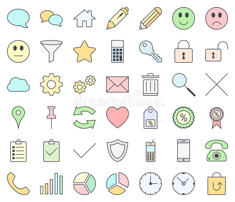 E-commerce colorful icon set isolated on white background. Pastel colors. royalty free illustration
