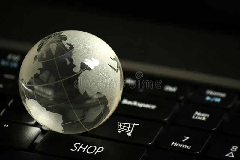 E-Commerce Concept. Laptop keyboard with e-commerce buttons, selective focus stock image