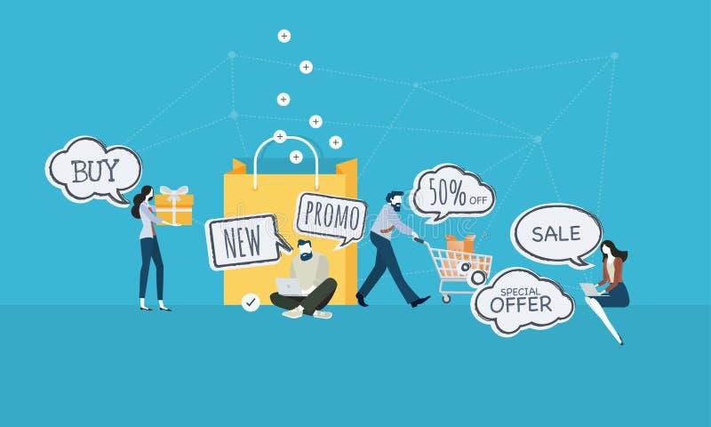 E-commerce concept. Flat design business people concept. Vector illustration for web banner, business presentation, advertising material vector illustration