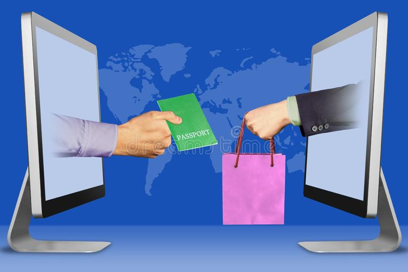 E-commerce concept, two hands from monitors. passport and hand with shopping bag. 3d illustration vector illustration