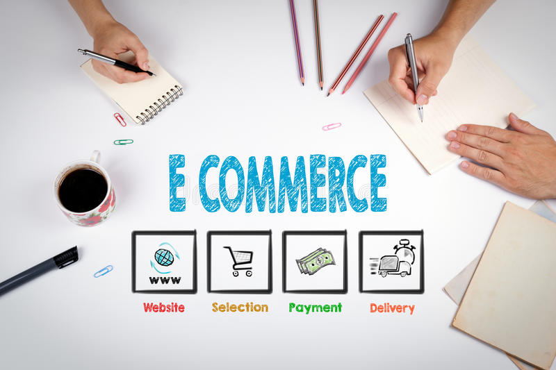 E commerce Concept. The meeting at the white office table royalty free stock images