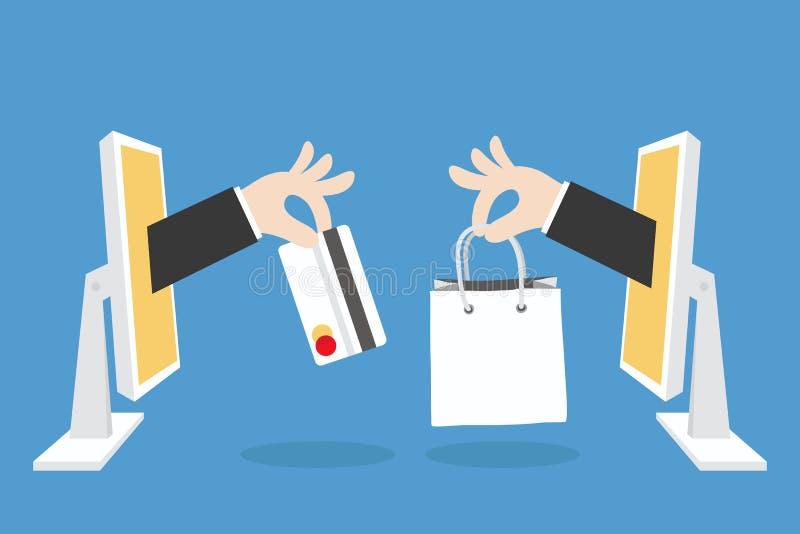 E-commerce concept. E-commerce concept minimal design royalty free illustration