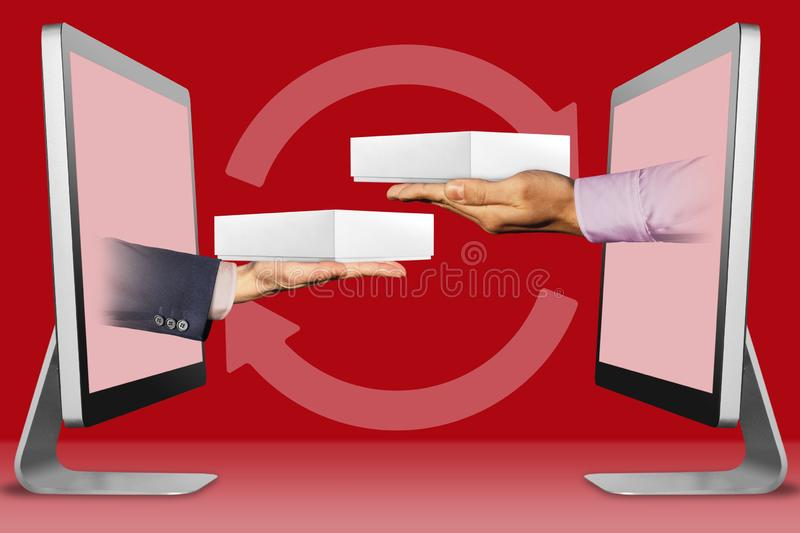 E-commerce concept, two hands from computers. hand with white tablet computer box and hand with white tablet computer box. 3d vector illustration
