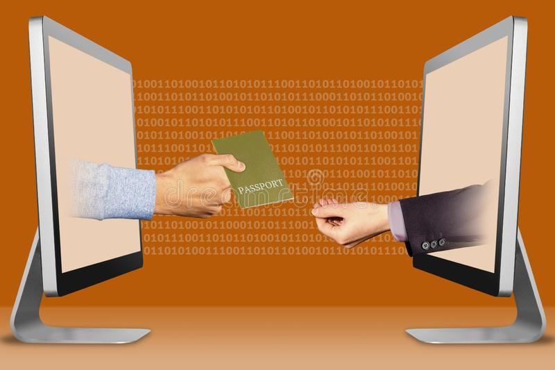 E-commerce concept, two hands from laptops. passport and pleading gesture. 3d illustration royalty free illustration