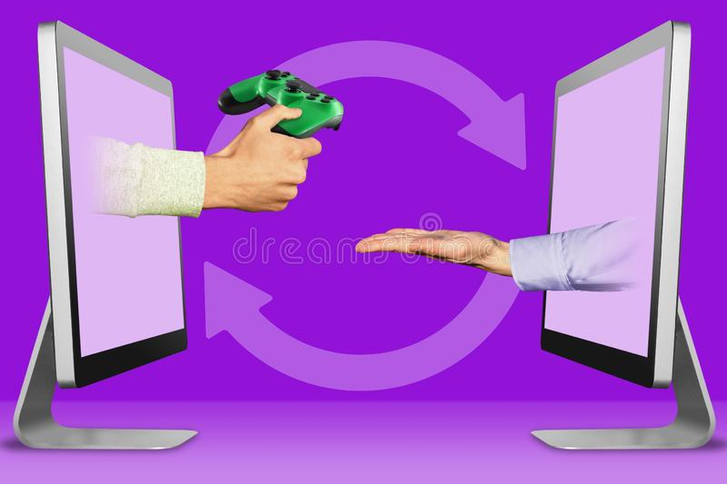 E-commerce concept, two hands from monitors. joystick and pleading gesture. 3d illustration stock image