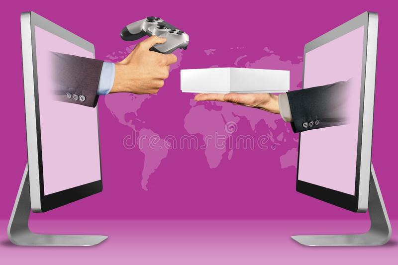 E-commerce concept, two hands from monitors. wireless controller and hand with white tablet computer box. 3d illustration royalty free stock images