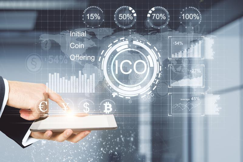 E-commerce, cryptocurrency and bitcoin concept stock image