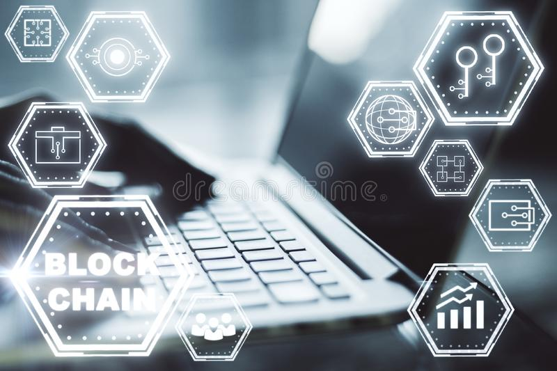 E-commerce, cryptocurrency and payment concept stock image