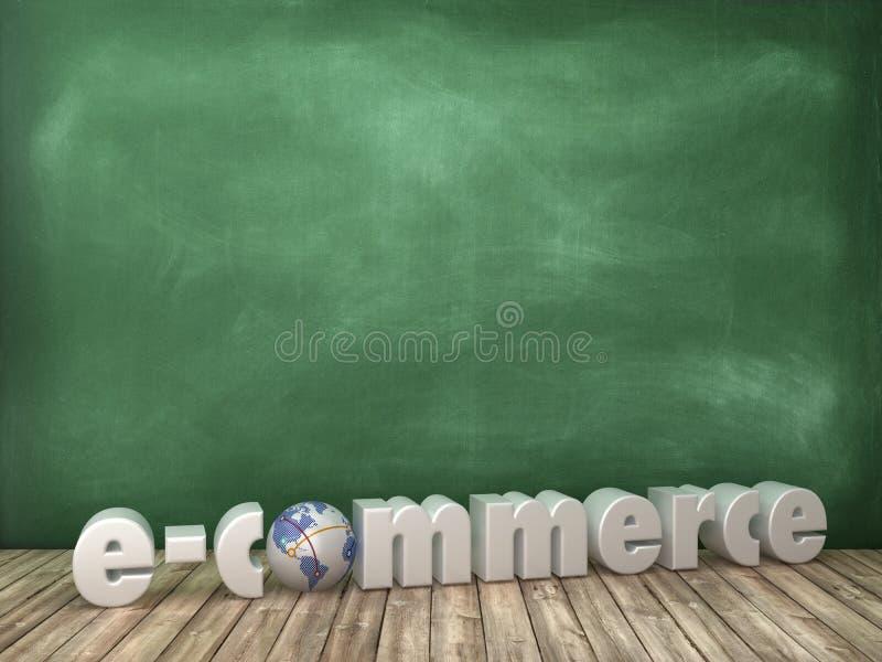 E-COMMERCE 3D Wort mit Kugel-Welt auf Tafel-Hintergrund lizenzfreie abbildung