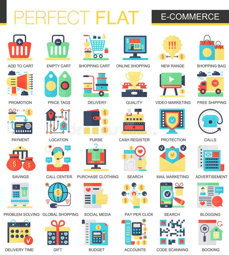 E-commerce and digital development vector complex flat icon concept symbols for web infographic design. royalty free illustration