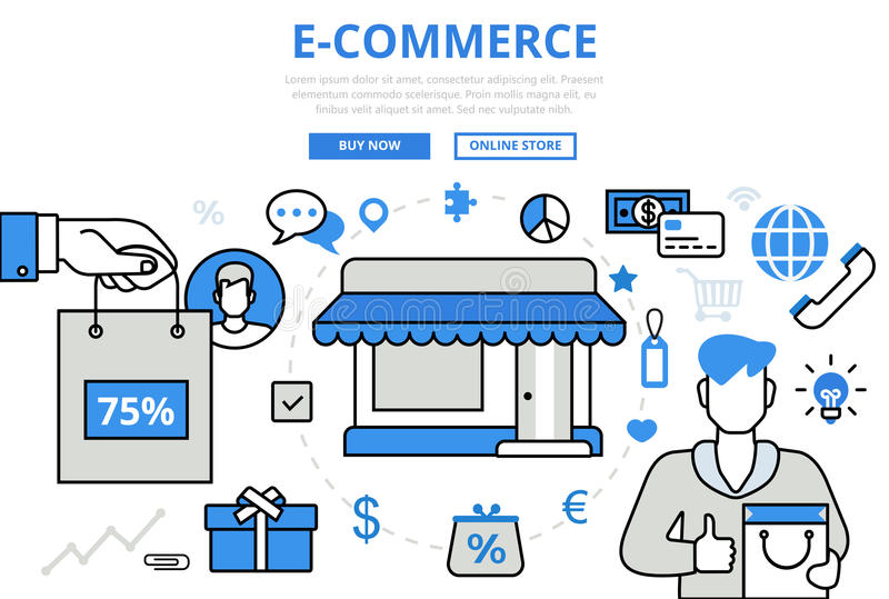 E-commerce electronic sale shop concept flat line art vector royalty free illustration
