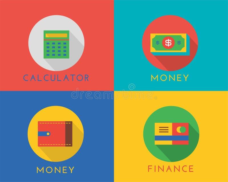 E-Commerce-Geldvektor-Logoikonen eingestellt system lizenzfreie abbildung