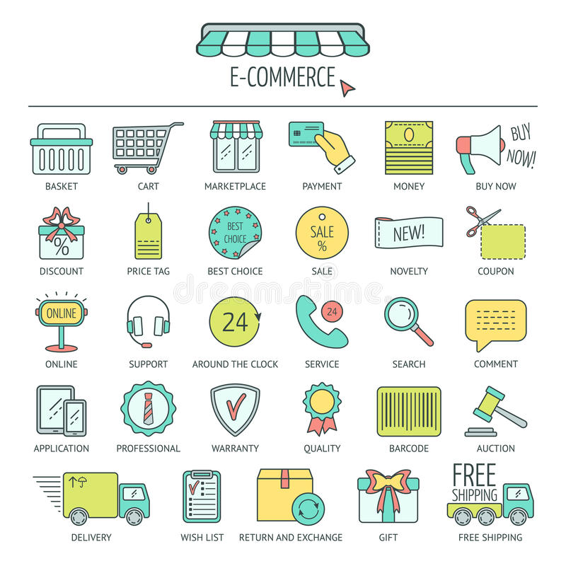 E commerce icon set color modern line icons for business web download e commerce icon set color modern line icons for business web development altavistaventures Images