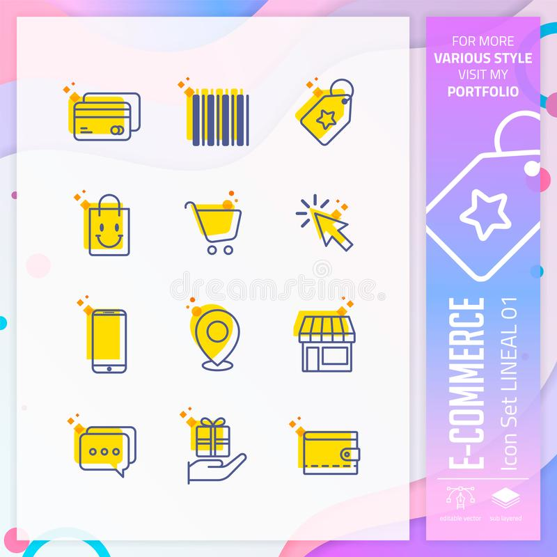 E-commerce icon set with line style for shopping symbol. Online market icon bundle can use for website, app, UI, infographic, vector illustration