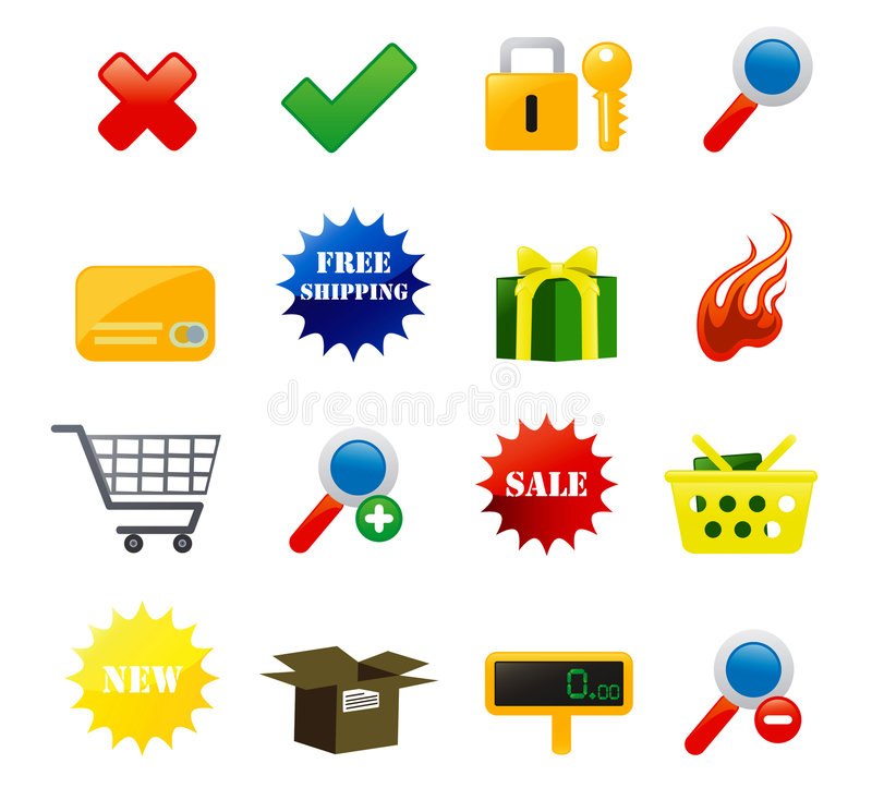 E-commerce Icons royalty free illustration