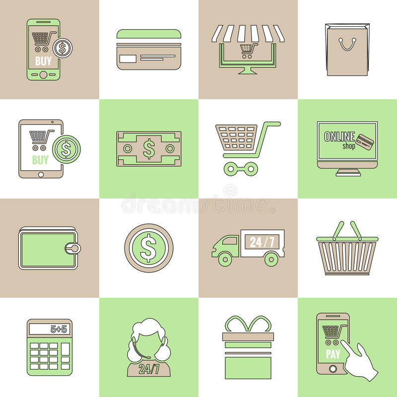 E-commerce icons set flat line. Online shopping e-commerce delivery and promotion discount services flat line icons set isolated vector illustration stock illustration