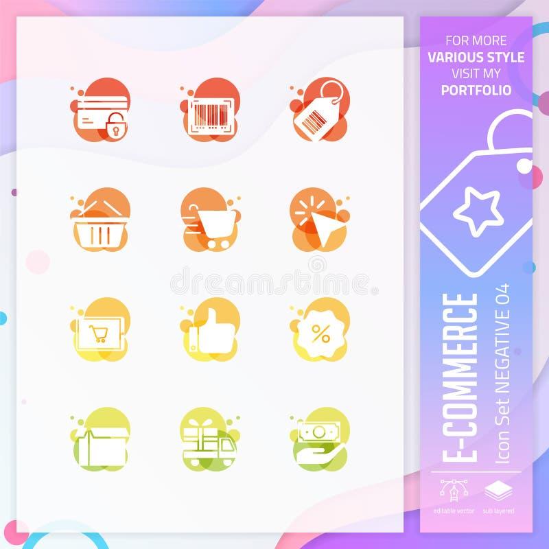 E-Commerce-Ikonen-Bühnenbildvektor mit negativer Art On-line-Einkaufsikone für Websiteelement, App, UI, infographic, Druck vektor abbildung