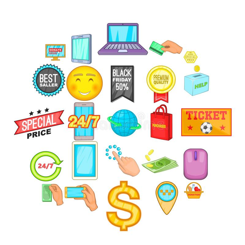 E-Commerce-Ikonen eingestellt, Karikaturart vektor abbildung