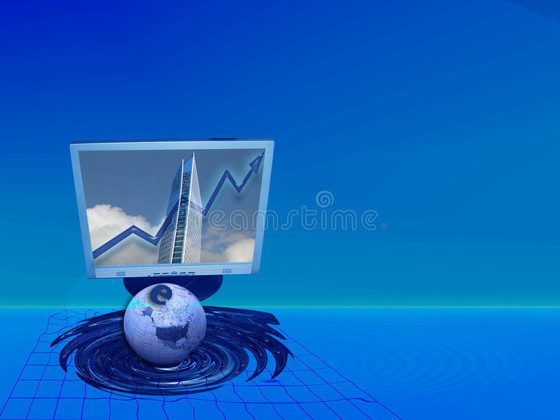 E-commerce and increasing success. This (web-)design is about metaphors. The floating screen, grid, skyscraper, globe, letter e and the upgoing arrow as well as royalty free illustration