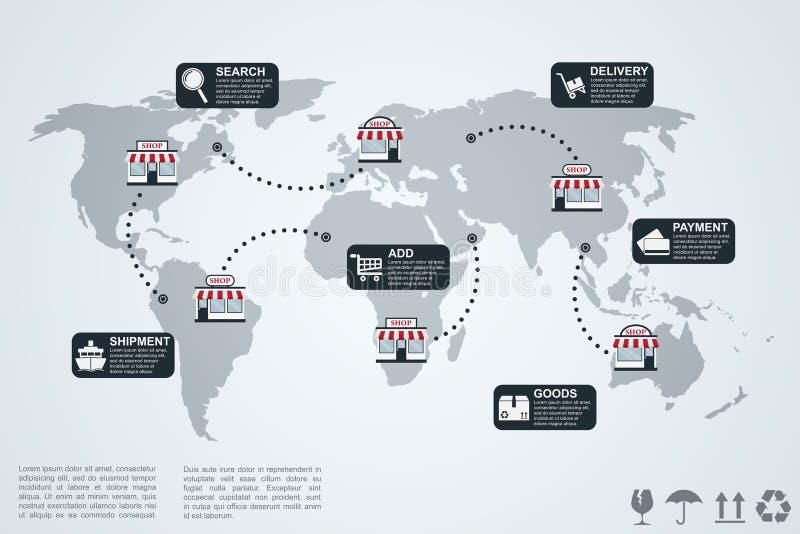 E0commerce infographic illustrazione vettoriale