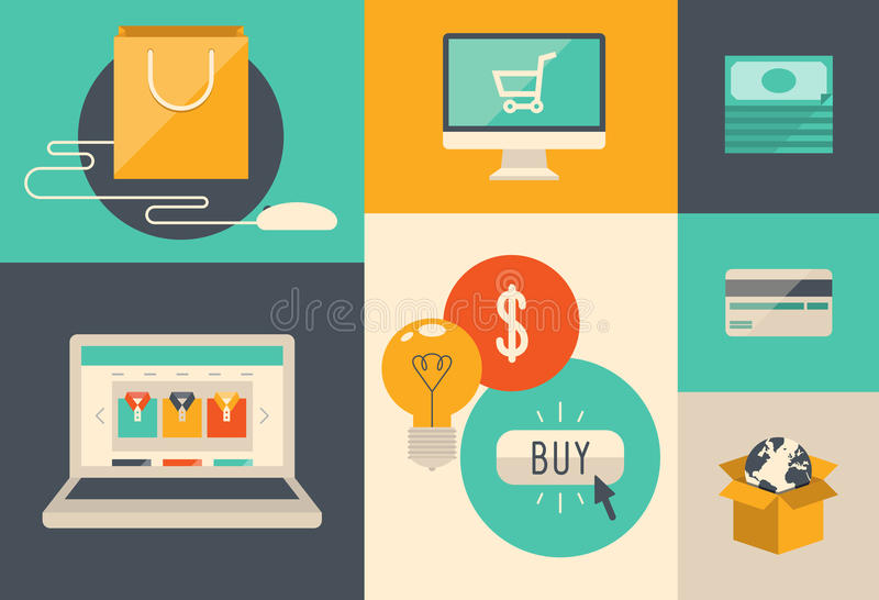 E-commerce and internet shopping icons. Flat design vector illustration icons of e-commerce symbols, internet shopping elements and objects in retro stylish vector illustration