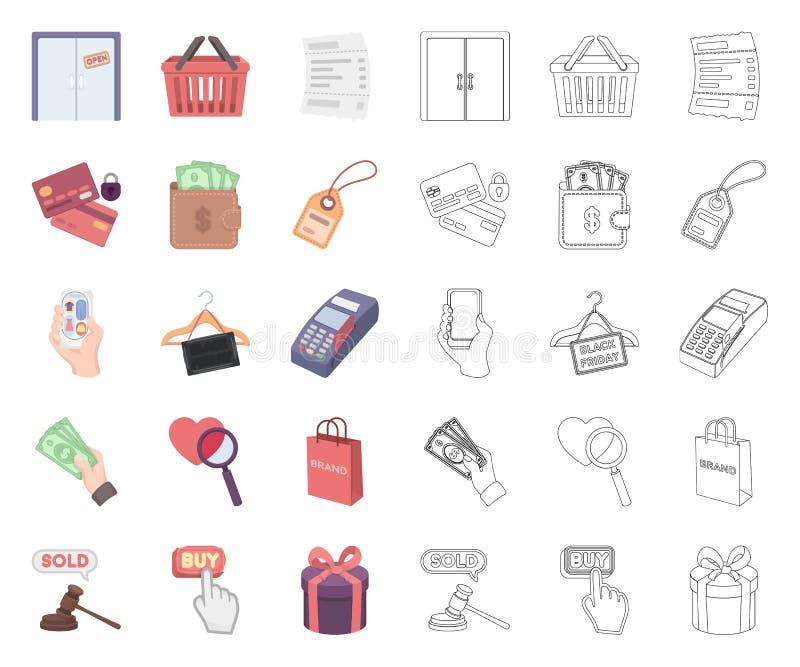E-Commerce-, Kauf- und Verkaufskarikatur, Entwurfsikonen in gesetzter Sammlung f?r Entwurf Handels- und Finanzvektorsymbolvorrat stock abbildung