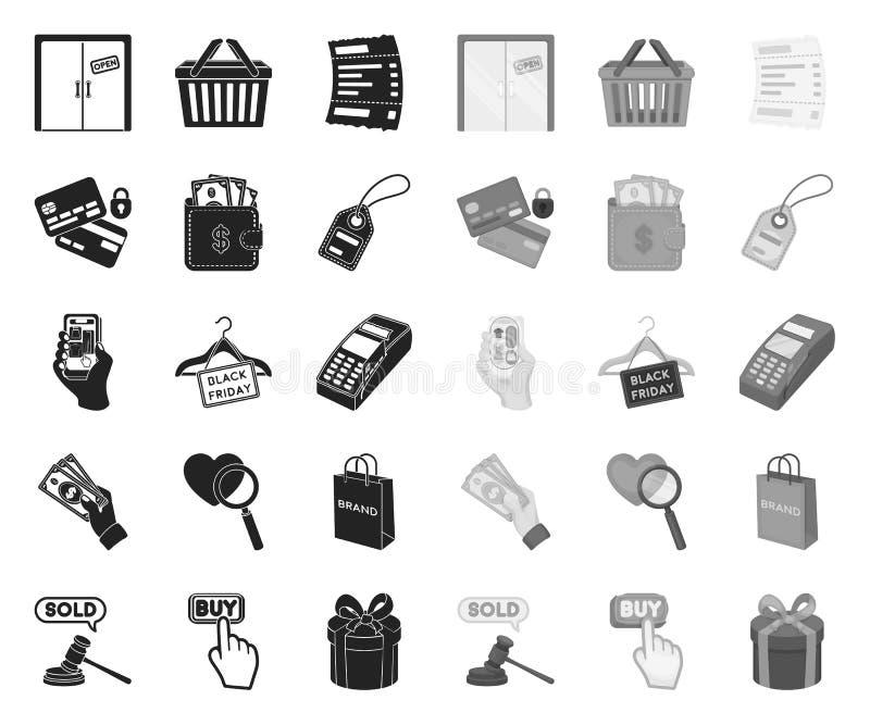 E-Commerce-, Kauf- und Verkaufsschwarzes Monoikonen in gesetzter Sammlung f?r Entwurf Gesch?fts- und Finanzvektorsymbol-Vorratnet stock abbildung