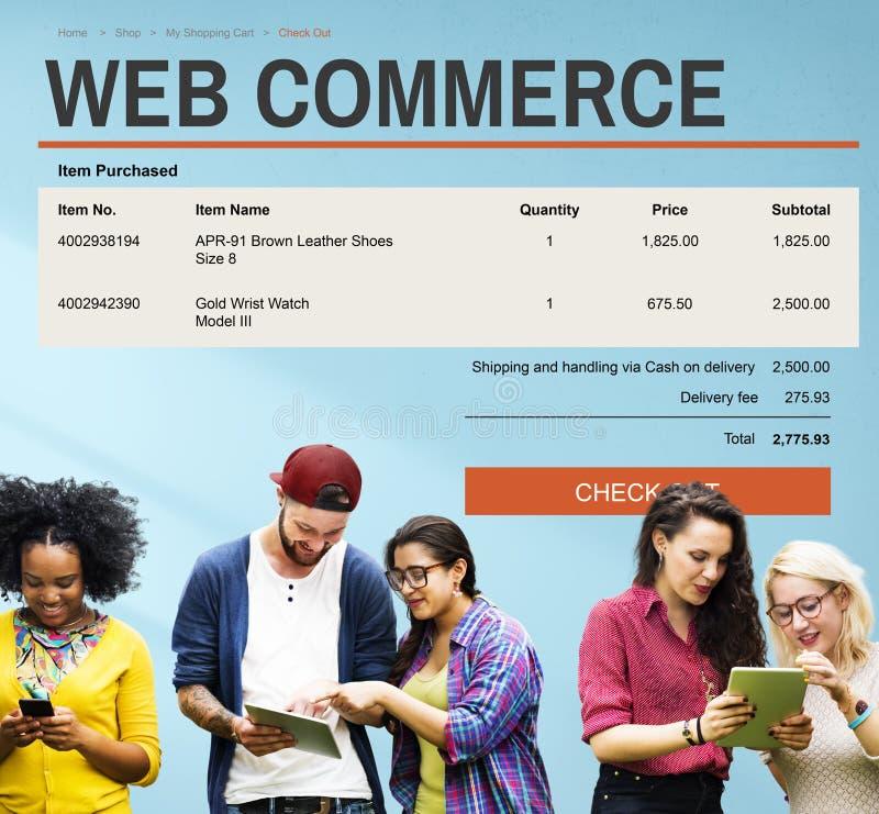 E-Commerce-on-line-Einkaufswebsite-Technologie-Konzept lizenzfreie stockfotografie