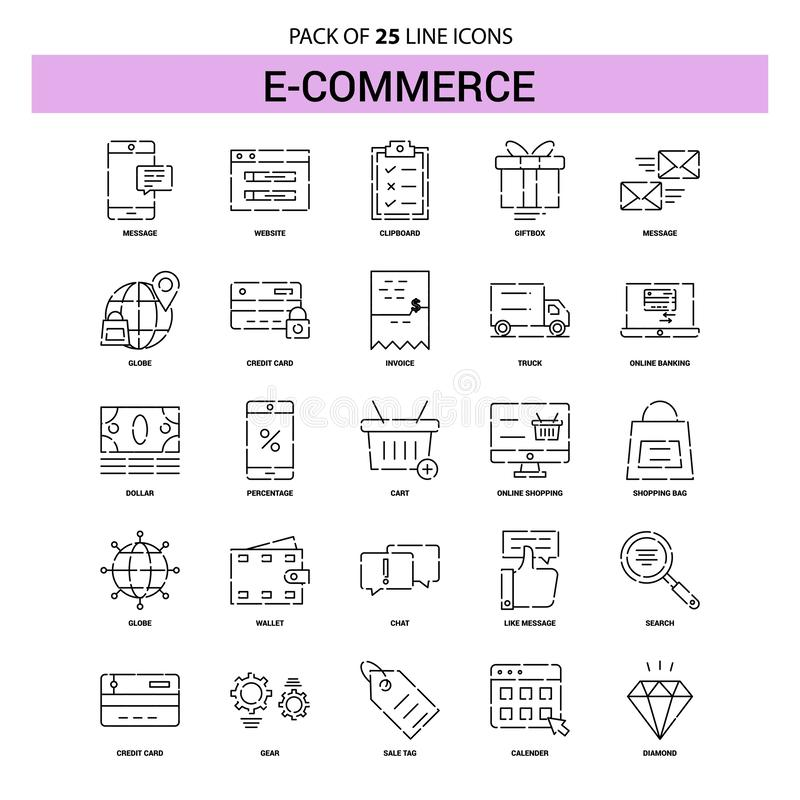 E-Commerce Line Icon Set - 25 Dashed Outline Style vector illustration