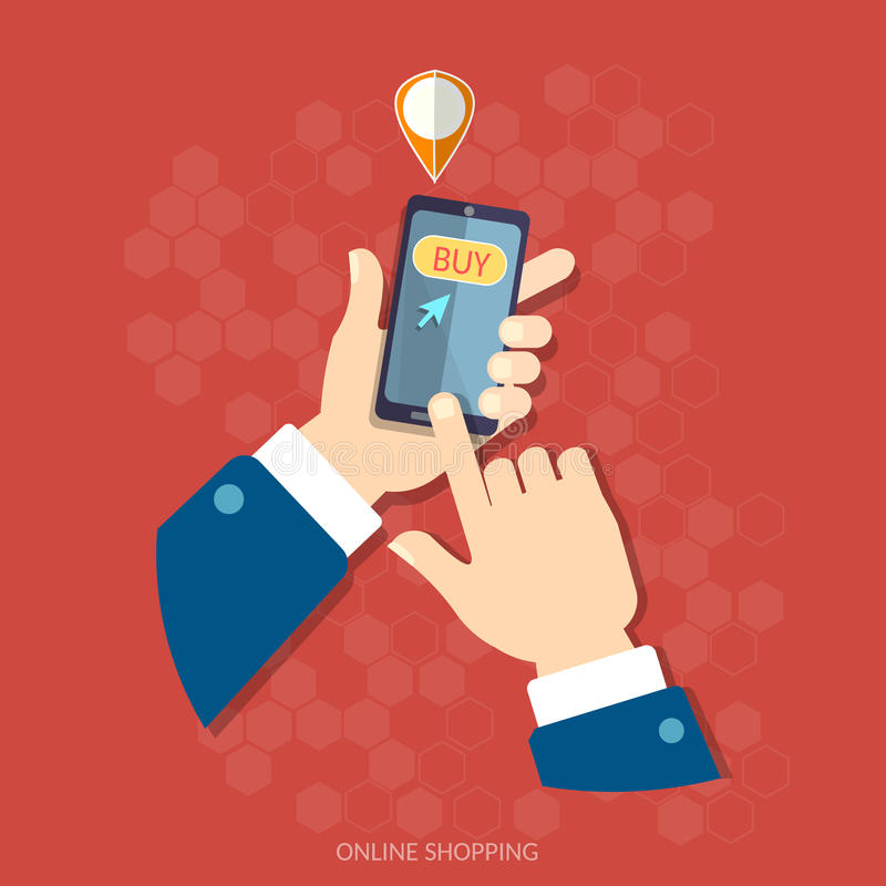 E-commerce men hand holding modern mobile internet shopping. E-commerce men hand holding modern mobile phone internet shopping application on screen vector stock illustration