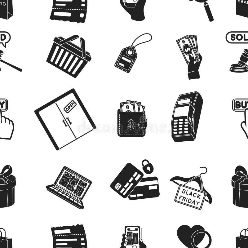 E-Commerce-Musterikonen in der schwarzen Art Große Sammlung der E-Commerce-Vektorsymbol-Vorratillustration vektor abbildung