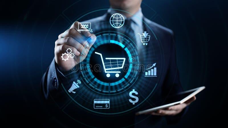 E-commerce online het Winkelen Digitaal marketing en verkoop bedrijfstechnologieconcept royalty-vrije stock afbeelding