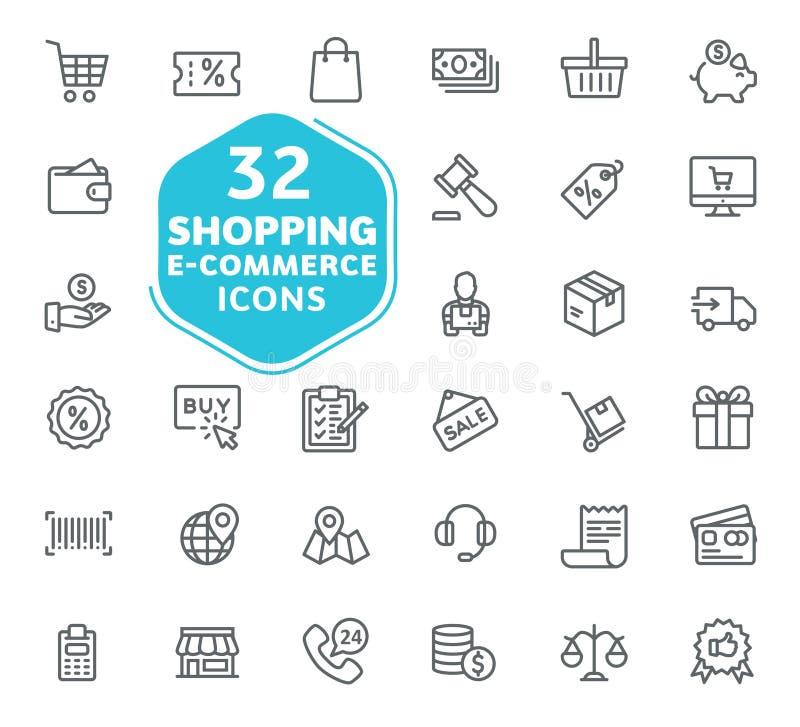 E-commerce, online het winkelen en leveringselement stock illustratie