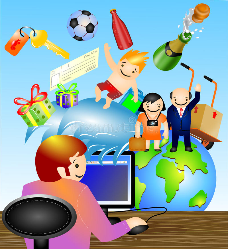 E-commerce and online shopping. Vector illustration on e-commerce where people are buying and shopping online for different reasons like travel,concert or
