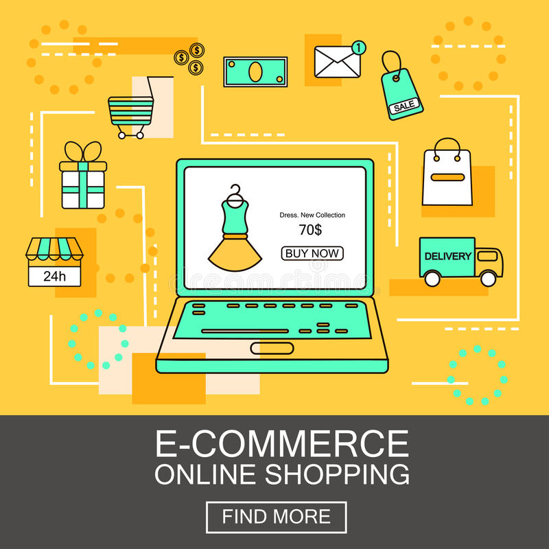 E-Commerce and Online Shopping Business. Internet and mobile marketing concept. For web and mobile phone services and apps.Vector royalty free illustration