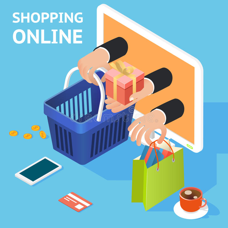E-commerce or online shopping concept. With hands reaching out of a computer screen holding a shopping bag and basket with a gift and a credit card and tablet stock illustration