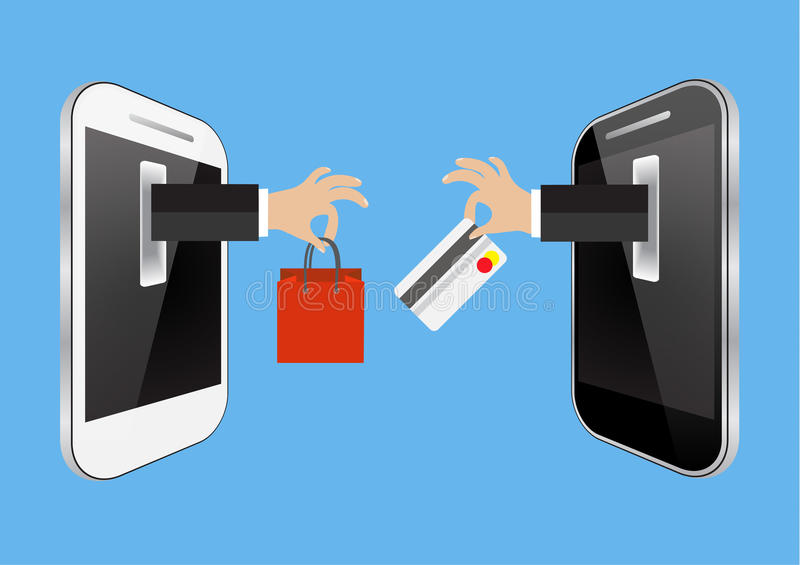 E-commerce or online shopping concept. With hands reaching out of a computer screen holding a shopping bag and a credit card vector illustration