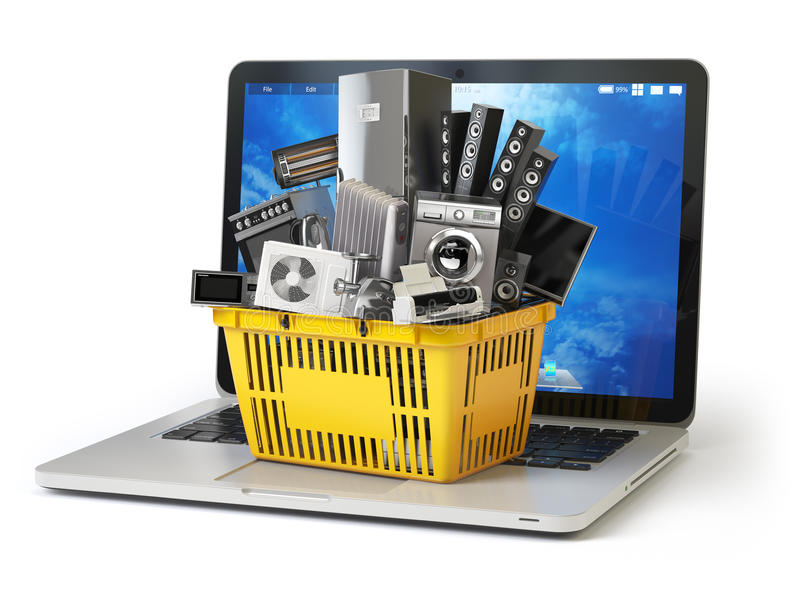 E-commerce online shopping or delivery concept. Home appliance in shopping cart on the laptop keyboard isolated on white. 3d stock illustration