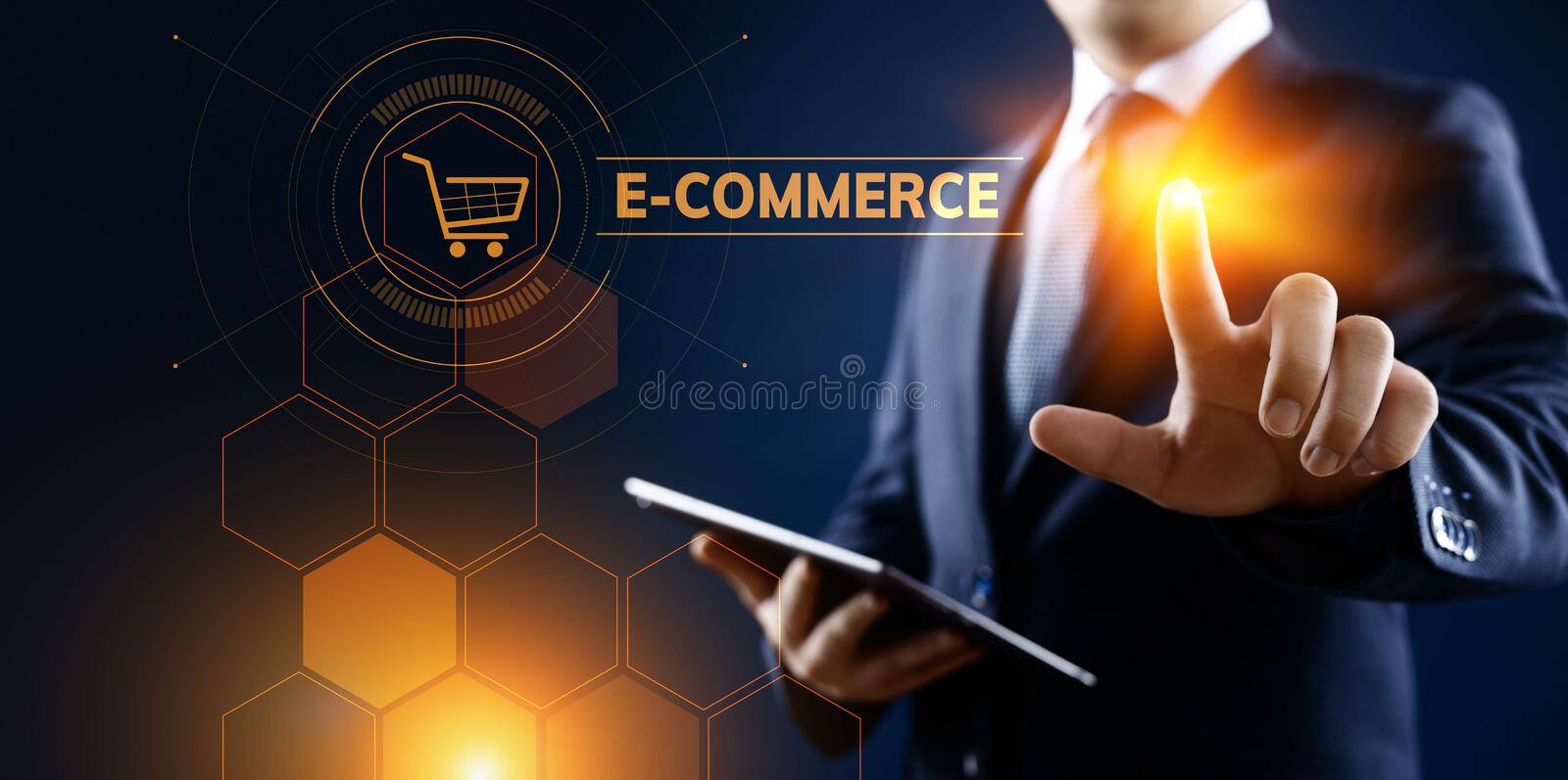 E-commerce Online Shopping Digital marketing and sales business technology concept. stock photo