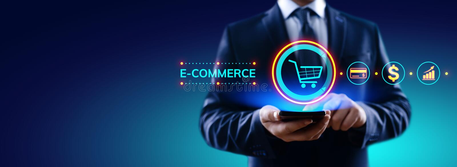 E-commerce Online Shopping Digital marketing and sales business technology concept. stock image