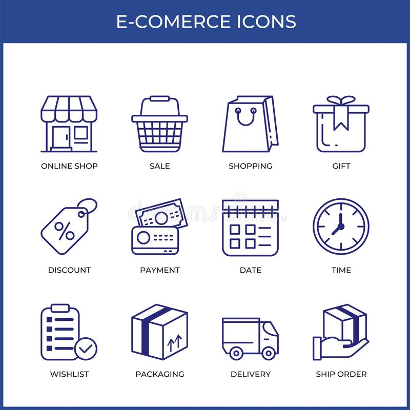 E-commerce online shopping line icons set with modern and simple design. E-commerce online shopping icons set with line - outline minimal design. modern and royalty free illustration