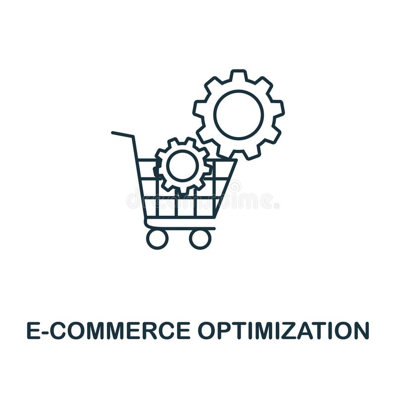 E-Commerce Optimization creative icon. Simple element illustration. E-Commerce Optimization concept symbol design from seo collect. Ion royalty free illustration