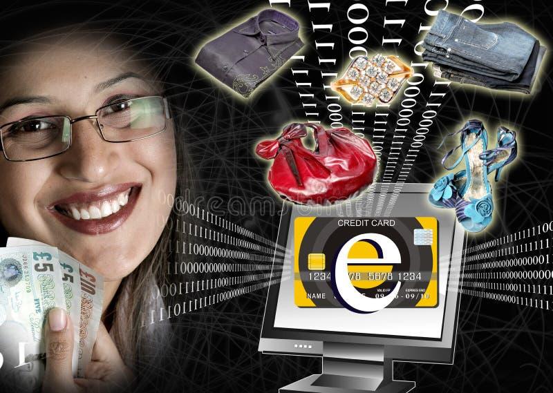 E-commerce power. Collage showing power of e-commerce stock illustration