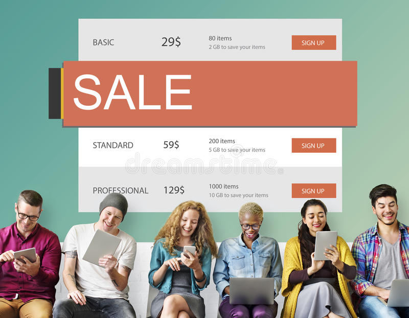 E-Commerce Sale Hot Price Discount Deal Concept. Diverse E-Commerce Sale Hot Price Discount Concept stock images