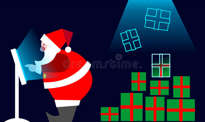 Download E-commerce: Santa Claus Buying On Line Stock Vector - Image: 10416489