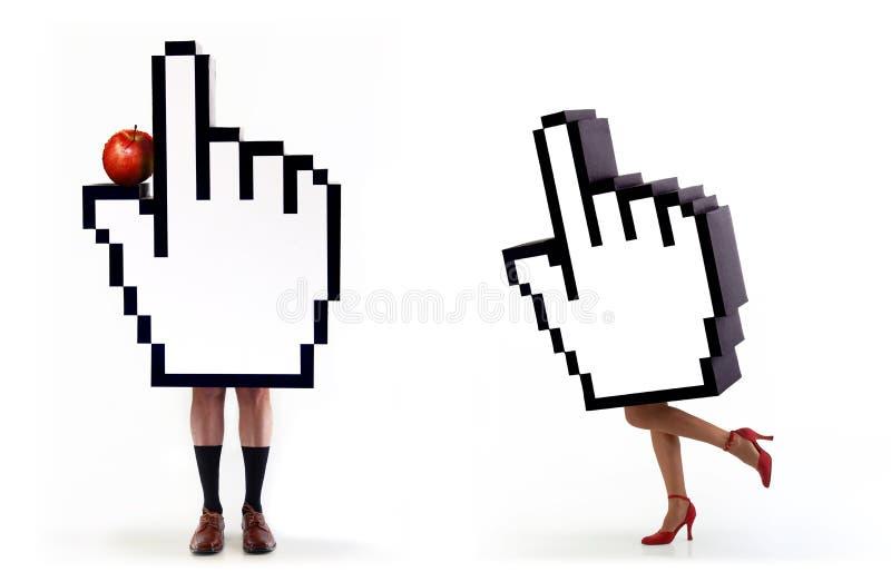 E-commerce series: Hands cursor temptation royalty free stock photo